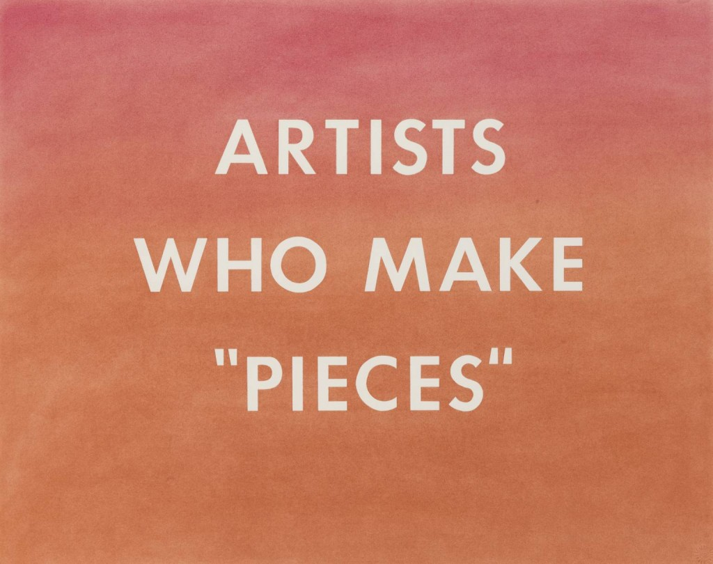 """ARTISTS WHO MAKE """"PIECES"""" 1976 by Edward Ruscha born 1937"""